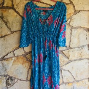 Blue and red tye-dye long dress